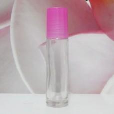Roll-on Glass Bottle 10 ml Clear PE Cap: PINK